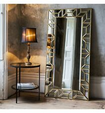 "Verbier Large Modern Gold Rectangle Full Length Leaner Floor Wall Mirror 62""x31"""