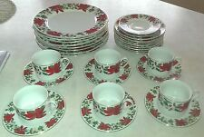 GIBSON Poinsettia Christmas Holiday Dinner Salad Plates Cup & Saucers Set~30 pcs