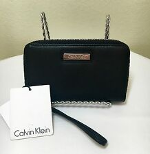 Calvin Klein CK Black Grain Leather Zip Around Clutch Wallet Bag NWT MSRP $78.