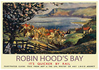 04 Vintage Railway Art Poster Robin Hood's Bay North Yorkshire  *FREE POSTERS