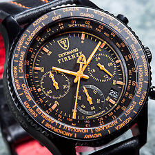 DETOMASO Firenze Chronograph Mens Watch Black Stainless Steel Orange Indices New