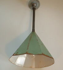 "VTG  11"" Porcelain Pendant Industrial Green Decagon Enamel Barn Lamp Light"