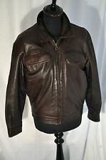 "vintage quality brown leather bomber biker jacket size small 38"" stone river"