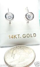 14kt Pure Solid White Gold  6MM Cubic Zirconia Leverback Earrings w/Gift Box