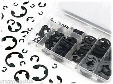 300 Pieces E-Clip Assortment Kit Set Black Oxide Finish Retaining Ring Circlip