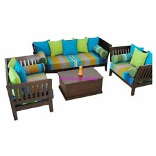 KraftNDecor Wooden Sofa Set with 1 center table in Brown Colour