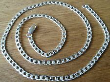 "SC2003a. Plum UK 925 silver 50cm / 20"" x 4mm curb chain, unisex, GIFT BOXED"