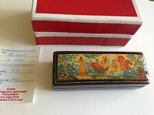 "Russian lacquer hand painted box  "" WINTER TROIKA"" from Mstera  NEW"