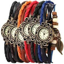 6 Pcs Lot Wholesale Vintage Wrap Around Womens Bead Leaf Bracelet Quartz Watch