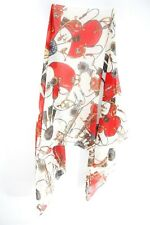 LADIES CREAM/ RED ABSTRACT RETRO ANCIENT GREEK PATTERN THEME SCARF(MS35)