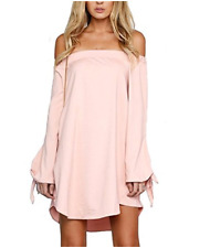 Women's Casual Off Shoulder Long Sleeve Tops Blouse Loose Beach Party Mini Dress