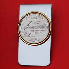 US 2007 Washington State Quarter BU Uncirculated Coin Two Toned Money Clip New