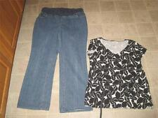 NEW ADDITIONS MATERNITY sz M straight leg jeans & OLD NAVY black top M LOT B8