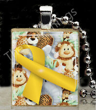 Yellow Ribbon Scrabble Tile Pendant Jewelry Childhood Cancer Awareness Support A