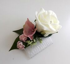 Ivory & Pink Hydrangea Hair Comb - Wedding Flowers