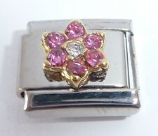 PINK FLOWER GEMS Italian Charm October Birthstone 9mm fits Classic Bracelets
