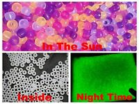 200 UV Mixed Color Changing Reactive Acrylic Pony Beads 8X6mm Glows in the Dark
