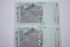 (PL) RM 1 0000885 UNC 2 PCS 4 ZERO RARE NICE FANCY LOW & LUCKY NUMBER PAPER NOTE