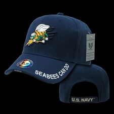 US Military Baseball Cap Ball Hat Legend Collection Navy USN Seabees Can Do-Blue