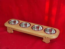"""Elevated Raised Cat Feeder Bowl Dish  Solid Oak 4"""" FREE NAME & STAIN"""