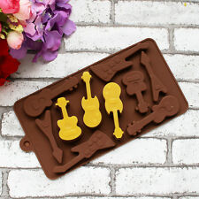 Cute Music Guitar Silicone Mold Cake Decorating Fondant DIY Baking Mould Tools