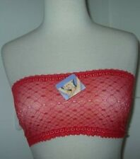 NWTS Sexy Strapless Bra Sheer Diamond Lace Red Gold Bandeau Tube Top 28 30 32 34