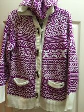 New Avalanche Outdoor Nordic Sweater Toggle Cardigan Hood Pink White Size M