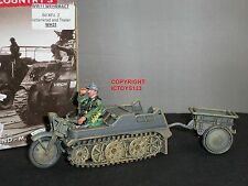 KING AND COUNTRY WH23 GERMAN SD.KFZ.2 KETTENKRAD + TRAILER MILITARY VEHICLE
