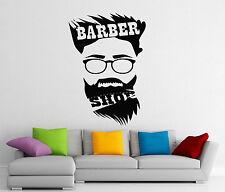 Barbershop Wall Decal Hair Cutting Salon Vinyl Sticker Beard Decor Mural 105d
