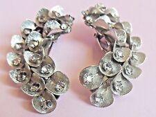 Big Vintage1950's Crystal Rhinestone silver flower leaf clip EARCLIMBER earrings