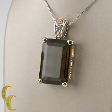 "Women's MX Sterling Silver Brown Quartz/Glass Pendant With 30"" inch Box Chain"