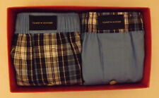 2 GENUINE BLUE TOMMY HILFIGER MENS SIZE: S 28-30 WOVEN COTTON BOXERS IN GIFT BOX