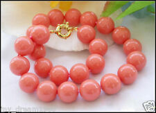 Genuine 12mm South Sea Coral Color Shell Pearl Round Beads Necklace 18''