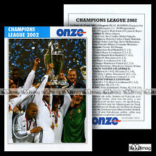 REAL MADRID CHAMPIONS LEAGUE 2002 - Fiche Football 2002