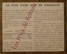 Article Le prix d'une nuit en wagon lit ,chemins de fer ,1900,french advert