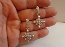 925 STERLING SILVER CHANDELIER DANGLING EARRINGS W/ 3MM PEARLS & ACCENTS