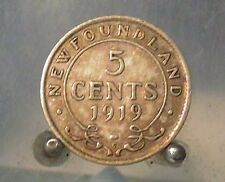 1919 C Canada, Newfoundland Silver 5 Cents, Old Silver World Coin