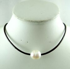 Dark brown Genuine Leather white Freshwater Pearl Handmade Jewellery Necklace