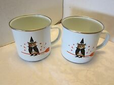 Old Navy mugs set 2 cat witch kitty large enamelware broom stars moon Halloween