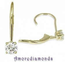 1.90 CT I VS2 ROUND NATURAL IDEAL CUT DIAMOND LEVERBACK EARRINGS 18K YELLOW GOLD