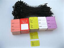 """500 Merchandise Price Tags  & Special Price Tag + 500  5"""" Black Loop Locks"""