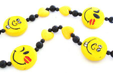 Smiley Face In Love Kiss Mardi Gras Bead Necklace Bourbon Street New Orleans