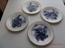 """4 MAASTRICHT GOLD TRIM FLOW BLUE  FRUITS P. REGOUT ANTIQUE  7"""" DESSERT PLATES"""