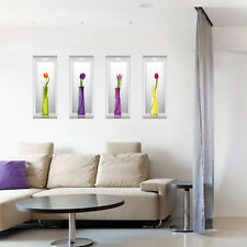Removable 3D Flower Vase Wall Sticker Home Office Decal Living Room Decor CA