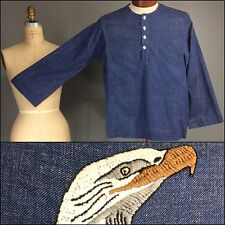 Indigo Blue Vtg 60s 70s Cotton Henley Long Sleeve Shirt Eagle Embroidered Unisex