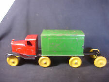 Old Vtg Girard 3 Piece Pressed Steel Red Green Semi-Truck Wood Tires W/ Trailer