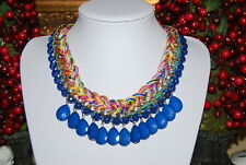 CARA NEW YORK LARGE BOLD BLUE BEADS AND MULTICOLORED ROPE BIB STATEMENT NECKLACE