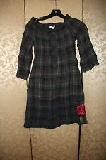 3J Workshop Johnny Was Gray Plaid Floral Butterfly Embroidered Smocked Dress S