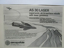 1980-1981 PUB AEROSPATIALE ENGINS TACTIQUES MISSILE AS 30 LASER GUIDANCE AD