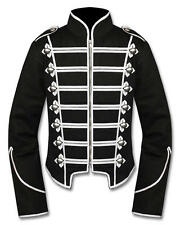 Handmade Men Silver Black Military Marching Band Drummer Jacket 100% Cotton